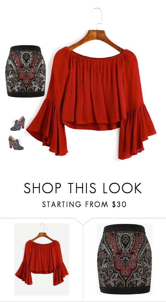 """Red"" by tracy-mizo ❤ liked on Polyvore featuring Balmain and Christian Louboutin"