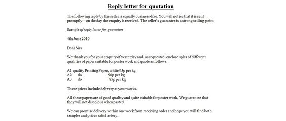 reply letter for quotation sample download business quotationg - example of inquiry letter for product