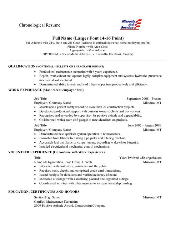 Chronological Resume-This is a fairly standard layout for a - chronological resume example