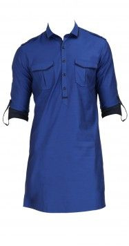 Rohit Gandhi and Rahul Khanna  Blue cotton silk kurta  Product Code -  AWPQ03MCU  Price -  $ 149