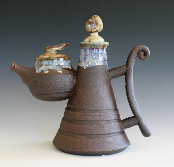 Kazem Arshi - Ceramic artist.  Offspring Teapot, Handmade Stoneware Teapot, Ceramic Teapot. $325.00, via Etsy.