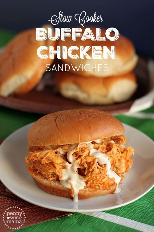 Slow Cooker Buffalo Chicken Sandwiches - perfect make ...
