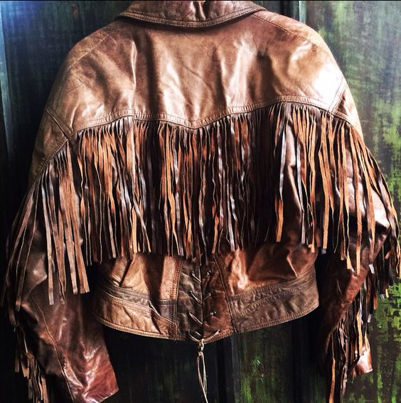 Vintage 80's Chia Fringe Leather Jacket $125 for sale at ShopTheBlackbird on Etsy...