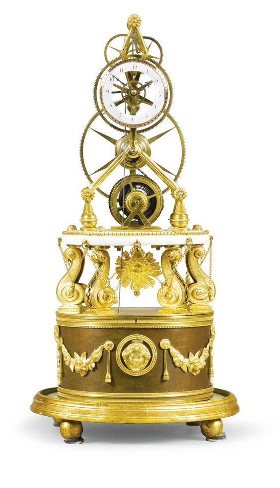 A LOUIS XVI GILT-BRASS AND MARBLE GREAT WHEEL FUSEE SKELETON CLOCK, FRENCH, CIRCA 1790