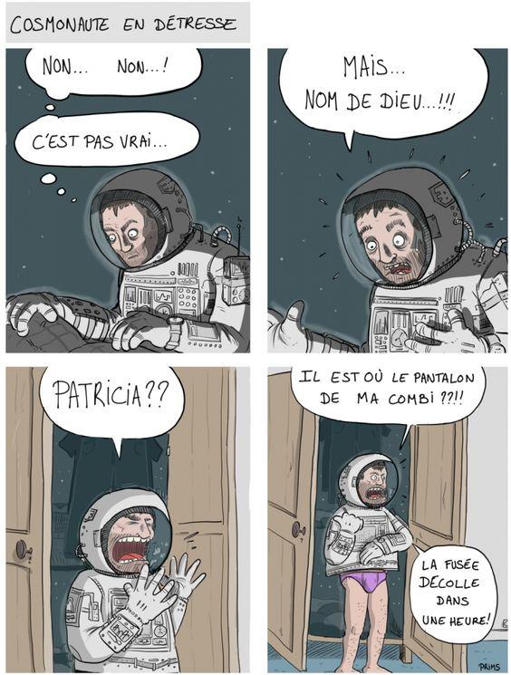 Cosmonaute en détresse – image drole humour Webcomics par Prims
