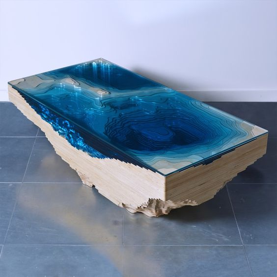 Elegant Tables Made To Resemble Caribbean Island Of Saint Martin - Incredible layered glass table mimics oceans depths