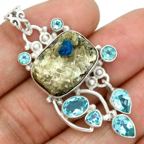Cavansite-Crystal-Blue-Topaz-925-Silver-Pendant-Jewelry-SP121322