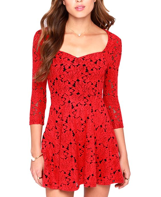 Vintage Rose Cutout Red Dress