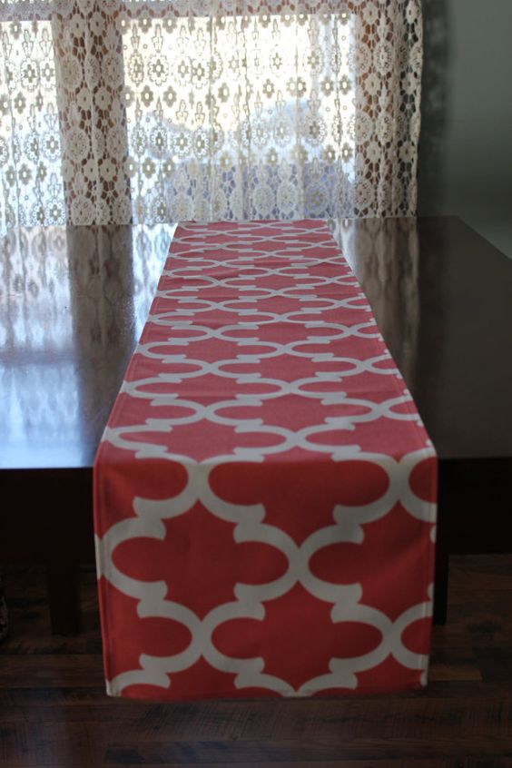 Fynn Coral Table Runner by LinenstoTreasures on Etsy