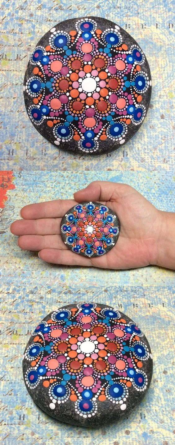 """Mandala Stone (Junior) by Kimberly Vallee: Hand painted with acrylic and protected with a matt finish, this """"junior"""" stone is a touch smaller than my usual stones, at about 2.5"""" diameter. It is one-of-a-kind."""