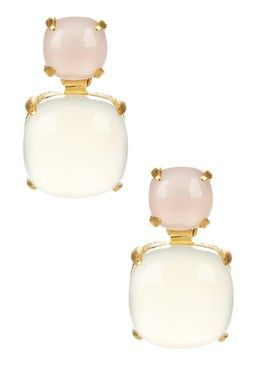 Pink Chalcedony & White Onyx Dangle Earrings
