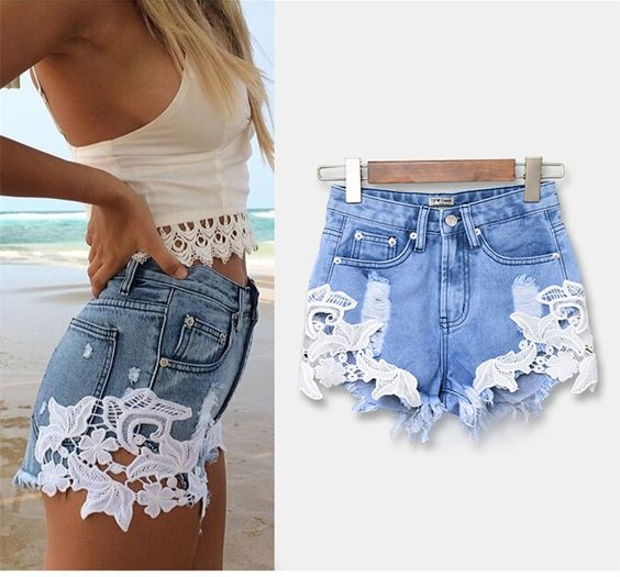 Women's Flower Pattern Lace Patchwork Denim Shorts | Trousers ...