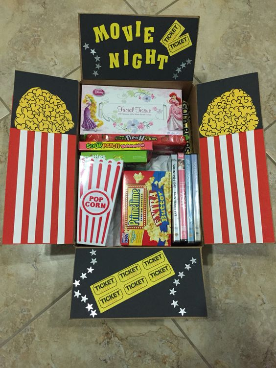 Movie night care package -6 care package themes for long distance boyfriend -todaywedate.com