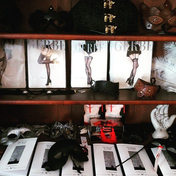 So much delicious loveliness in one shop! #corsets #hosiery #leather #masks #poetry #nippletassels #steampunk #burlesque