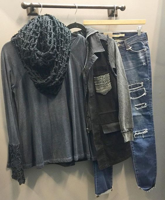 Favorite color combo ▪️▪️ { charcoal + black } NEW miss me 2pc vest + hoodie set $89 Black Swan lace cuff babydoll Longsleeve $58 Big Star distressed Skinnies $128 Charcoal Open Knit Infinity Scarf $18  CALL to order ☏ 360.716.2982 || SHOP HOITY TOITY❣