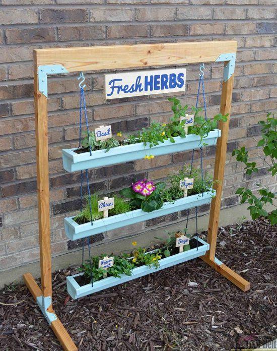 13 Vertical Diy Rain Gutter Garden Ideas For Small Spaces Vertical Garden Diy Fresh Herbs Garden Diy Herb Garden