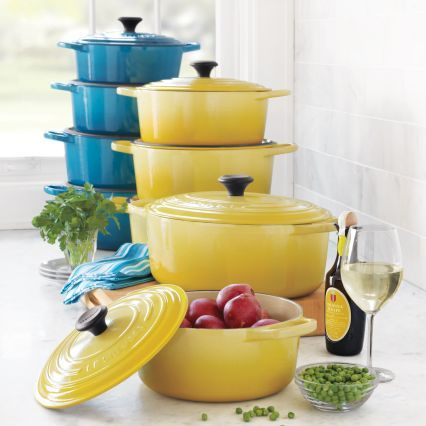 There's something so cheery about the color combination of these Le Creuset® French Ovens | Sur La Table
