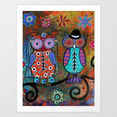 MEXICAN OWL WEDDING COUPLE  DIA DE LOS MUERTOS PAINTING Art Print by Prisarts - $38.48