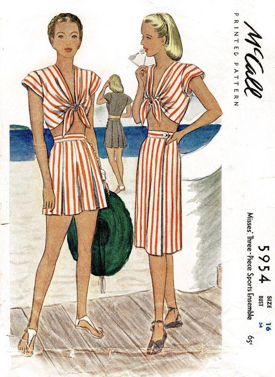 McCall 5954 1940s crop top high waist shorts skirt sewing pattern