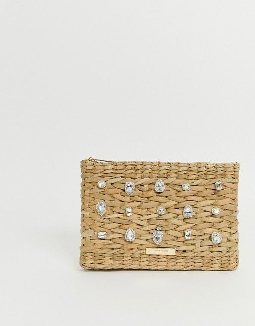 River Island Woven Clutch Bag With Embellishment In Tan Asos In 2020 Silver Clutch Bag Clutch Bag Pink Clutch Bag