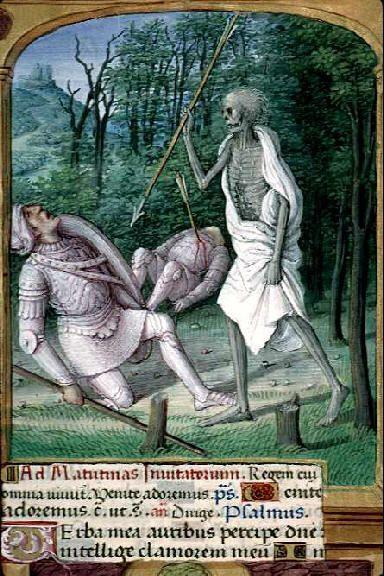 Livre d'heures de Marie d'Angleterre, reine de France, à l'usage de Rome, Le triomphe de la mort ; encadrement ; initiale ornée ; pied-de-mouche (Bibliothèque municipale de Lyon, Ms 1558):