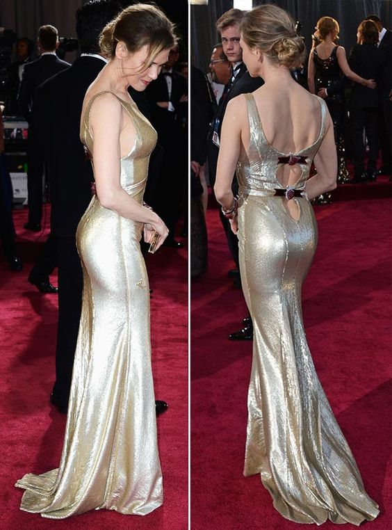 Renee Zellwegger Carolina Herrera gold dress 2013 Oscars