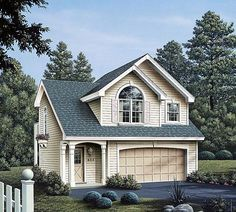 Garage Plan 86903 | Country Traditional Plan with 628 Sq. Ft., 1 Bedrooms, 1 Bathrooms, 2 Car Garage
