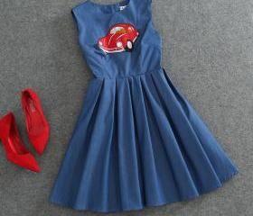 Bead Vintage Jacquard Fabrics Printed Sleeveless Dress