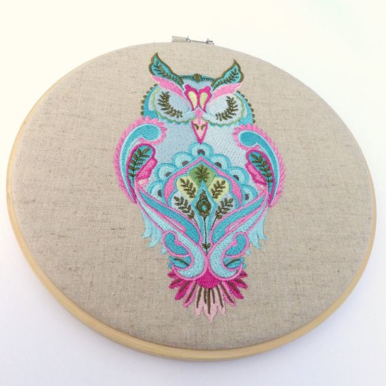 Hoop Art  Full Moon Owl  Linen Machine Embroidered by CaboPickles, $44.95