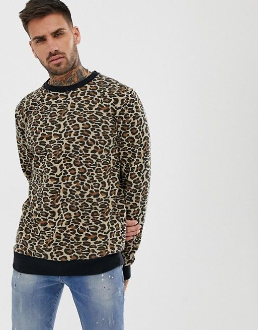 recognized brands more photos new styles Pull&Bear sweater in leopard print in 2019 | Mens jumpers ...