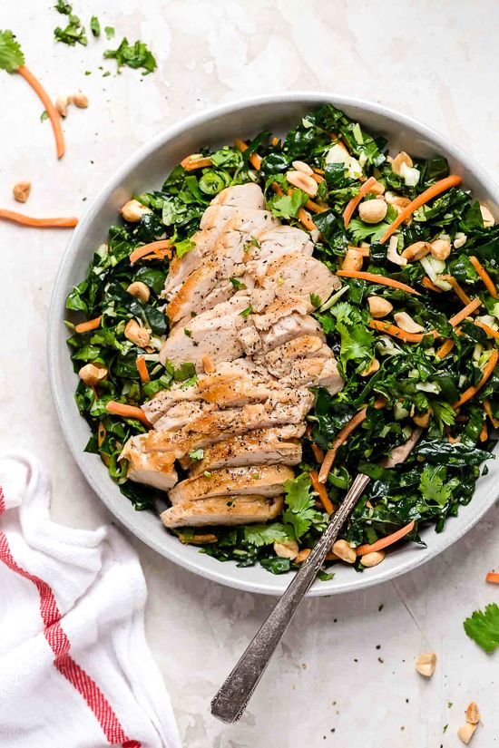 Grilled Chicken Kale Salad With Peanut Vinaigrette Recipe Kale Chicken Salad Chicken Kale Kale Salad