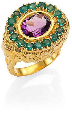 Jade Jagger Amethyst & Emerald Skull Cocktail Ring  $1,125.00 $450.00