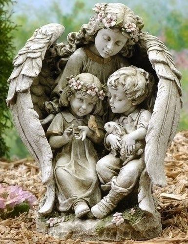 NEW! Guardian Angel with Children Figure Garden Accent