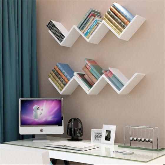 Floating Wall Shelves W Shaped Floating Wall Shelf Rack Organizer Hanging Bookshelf Wall Mounted Boo Hanging Bookshelves Floating Wall Shelves Wall Bookshelves