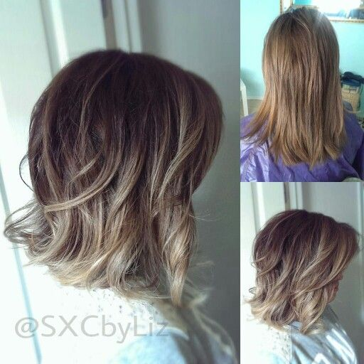 Beautiful long bob with balayage highlights. Ombre balayage highlights. Ash blonde hair