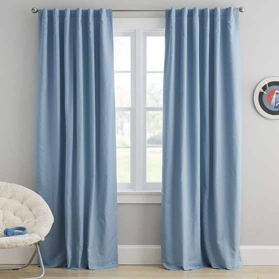 Washed Linen Blackout Curtain Panel Curtains Light Blue Curtains Blue Blackout Curtains