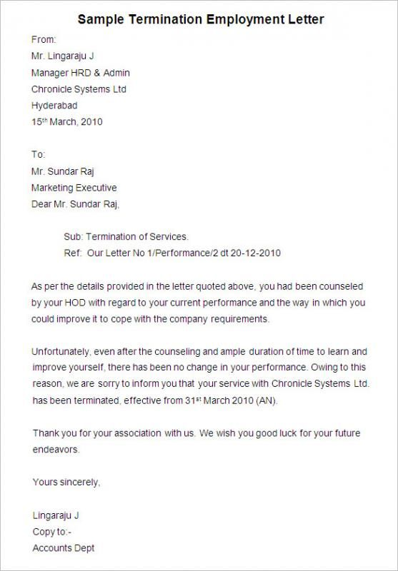 Employee Termination Letter Letter Templates Free Lettering