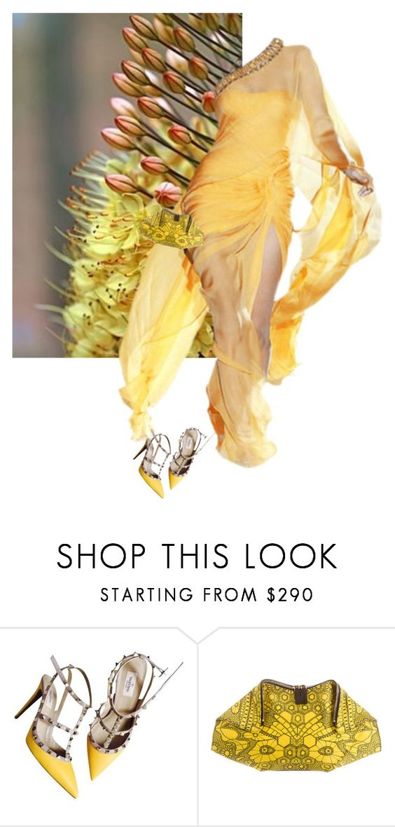 """Yellow"" by cowseatchard ❤ liked on Polyvore featuring Valentino and Alexander McQueen"