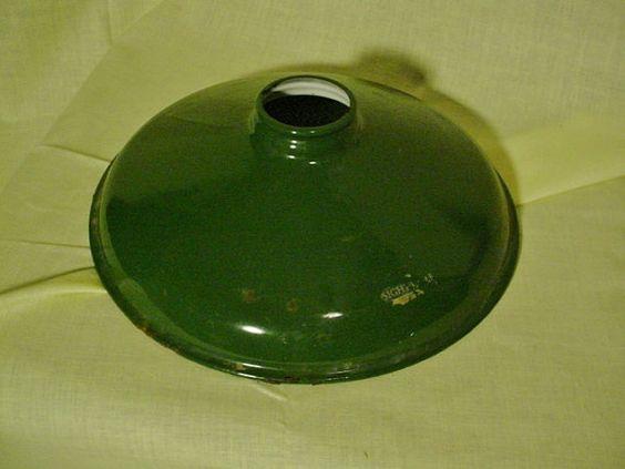 Outside Lamp Shades: Vintage Inglewood Green Metal Light Lamp Shade Enamel by Zarahs, $17.00,Lighting