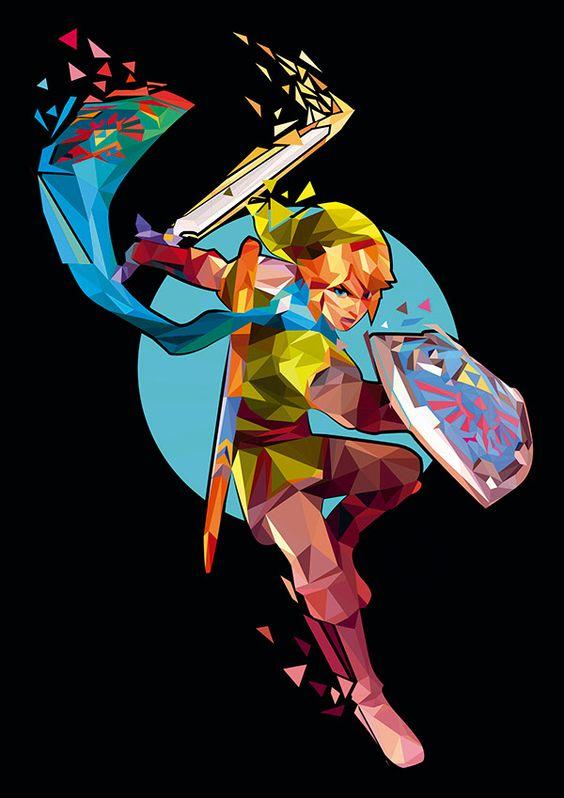 Trigonometrical Legend of Zelda characters by Pablo Yáguez. via: https://www.behance.net/pabloyaguez