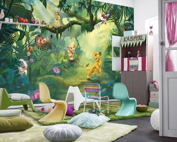 Giant size Lion King Disney paper wallpaper mural. Amazing decoration idea wall mural for kids children's and teenagers bedroom or playroom. Express sipping available.