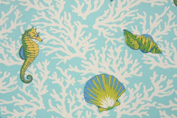 Mill Creek Kittery Printed Poly Outdoor Fabric in Aqua $8.95 per yard