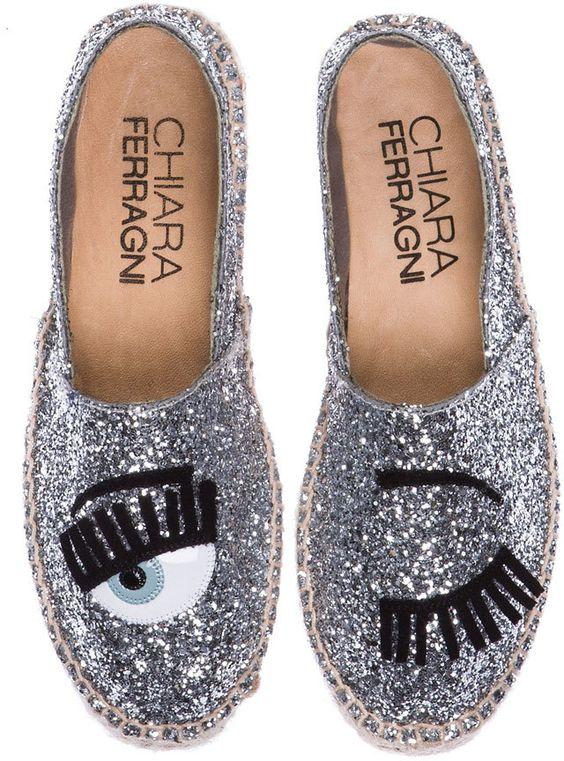Chiara Ferragni Espadrilles Wink Glitter Canvas in Silver: