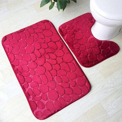 2 Piece Bath Mat Set Symple Stuff Colour Red Bath Mat Sets Bath Mat Toilet Mat