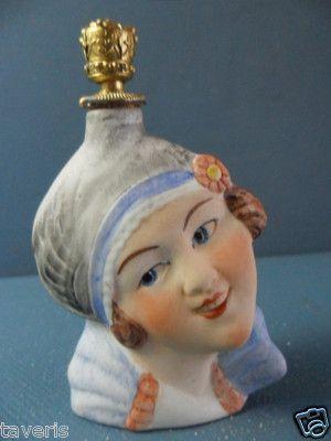 Art Deco 1925 Perfume Flask German Porcelain Smell Bottle Lady Head Crown Top   eBay: