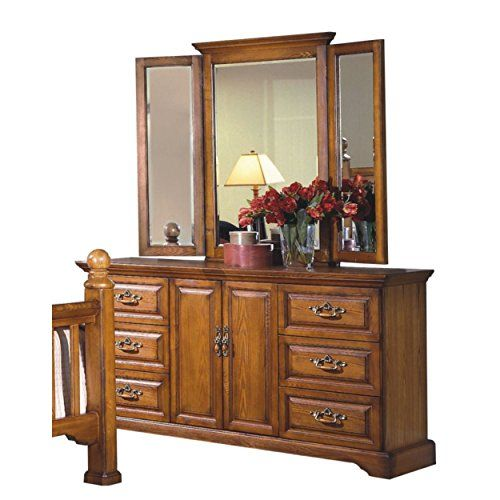 Haverhill Country 6 Drawer Dresser Wing Mirror In Honey Oak Wood
