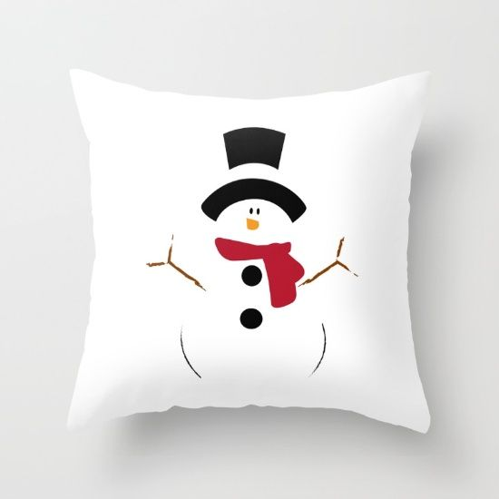 Christmas White Snowman - Throw Pillow made from 100% spun polyester poplin fabric, a stylish statement that will liven up any room. Individually cut and sewn by hand, each pillow features a double-sided print and is finished with a concealed zipper for ease of care.  Sold with or without faux down pillow insert.
