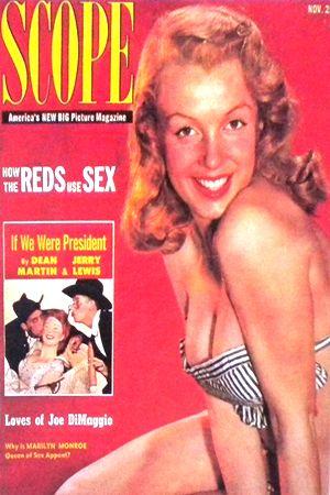 1952 November issue: Scope (USA) magazine cover of Marilyn Monroe  .... #marilynmonroe #normajeane #vintagemagazine #pinup #iconic #raremagazine #magazinecover #hollywoodactress #1950s