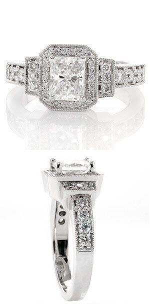Radiant #Art_Deco magnificent design embellished in micro pavé, featured with a 1.00 carat radiant cut center diamond.  #knoxjewelers #ring  www.knoxjewelers.biz
