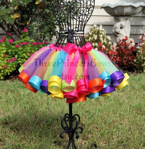Candy Land Rainbow Satin Ribbon Trim Tutu.  via Etsy.